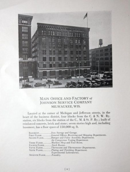 This page from a 1924 Johnson Controls publication, then known as the Johnson Service Company, features the company's headquarters and building directory.