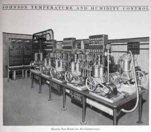 This 1924 image illustrates an air compressor testing laboratory at Johnson Controls.