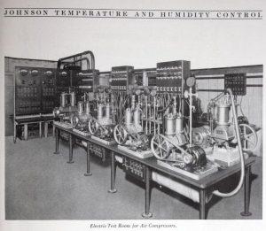 This 1924 image illustrates an air compressor testing laboratory at Johnson Controls.