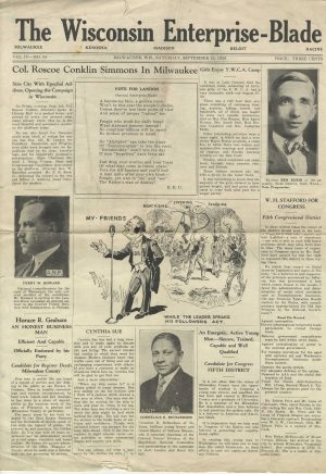 "The front page of the September 12, 1936 issue of the ""Wisconsin Enterprise-Blade,"" edited by J. Anthony Josey."