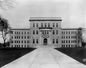 The Milwaukee County Emergency and Dispensary Hospital was completed in 1928 and operated until 1983. It was then sold to the Milwaukee Public School System and currently houses the Milwaukee Academy of Chinese Language.