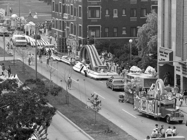A line of floats stretches down Wisconsin Avenue for the inaugural City of Festivals Parade in 1983.