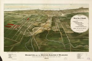 This 1892 map provides a bird's-eye illustration of Wauwatosa and Milwaukee's western suburbs looking east toward the city and Lake Michigan.