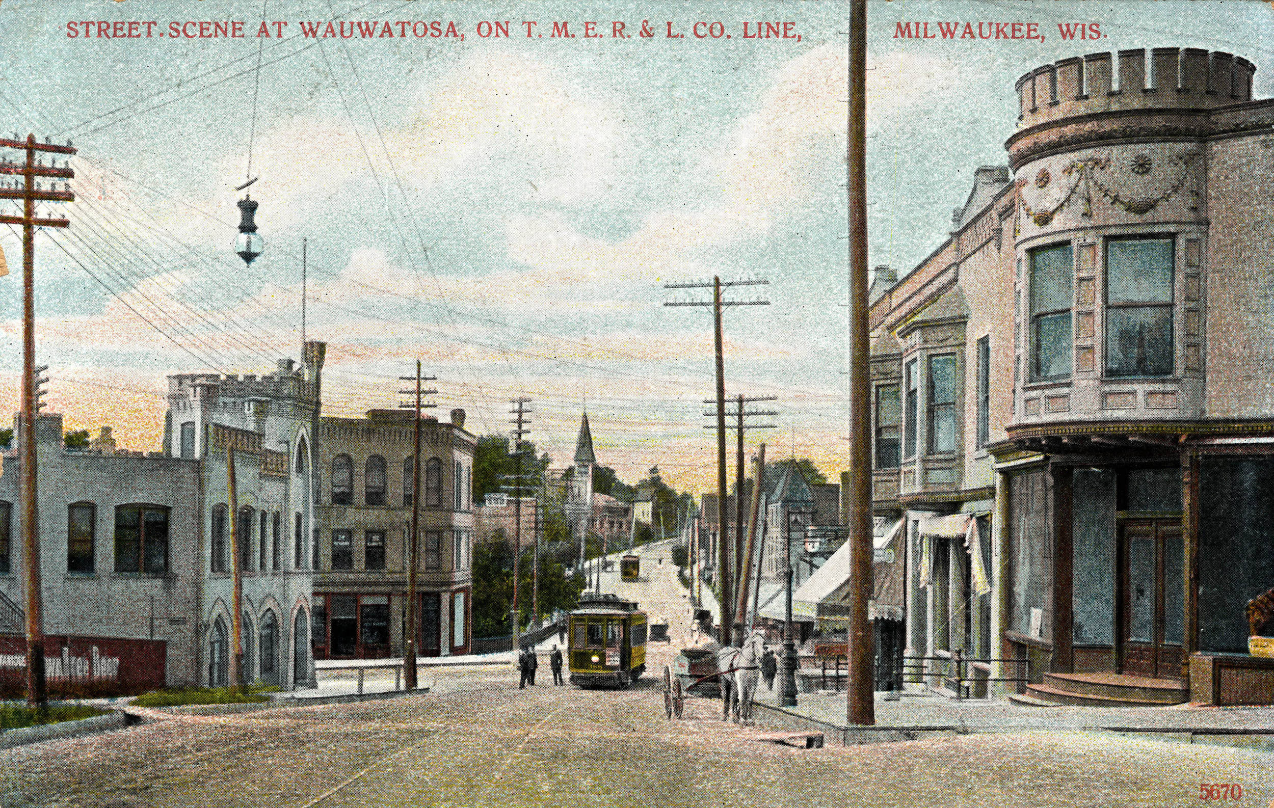 This postcard from the early twentieth century provides a view of a Wauwatosa street scene along the TMER&L Company interurban line.