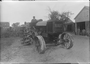 C.W. Hart, nephew of founding Wauwatosa settler Charles Hart, was the co-founder of the Hart-Parr Company, a tractor manufacturer. He left the partnership in 1917 and returned to Wauwatosa and built three Hart tractors, pictured here, which he then shipped to his Montana wheat ranch.