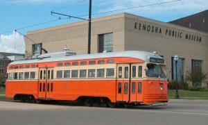 Kenosha's modern streetcar line opened in 2000. The city's public museum, founded in 1933, moved to its current location pictured here in 2001.