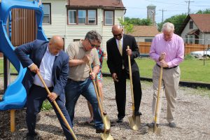 Mayor Tom Barrett and other city officials participate in a groundbreaking ceremony at Witkowiak Park as part of the MKE Plays initiative sponsored by the Greater Milwaukee Foundation.