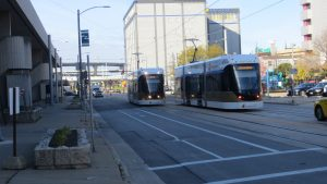 "Milwaukee's newest streetcar, known as ""the Hop,"" opened in 2018 and runs along 2.5 miles of track through the city's downtown."