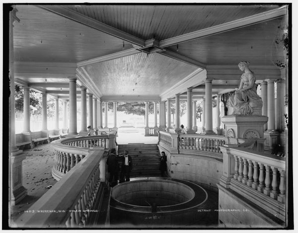 Visitors relax at Hygeia Springs in Waukesha at the end of the nineteenth century. Prior to the 1893 Chicago World's Fair, developers attempted to lay pipes from this spring to pump water to Chicago, but local residents vehemently fought against the plan.