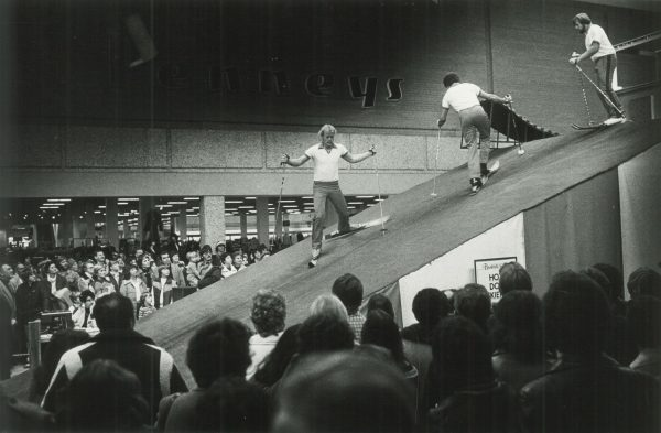 Three men provide a ski demonstration for onlookers at the Brookfield Square Mall in 1980. Opened in 1967, it was the first enclosed mall in the Milwaukee area.