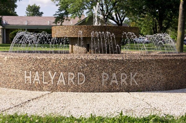 """A water fountain marks the entrance to Halyard Park and welcomes visitors to this """"suburb within a city."""""""