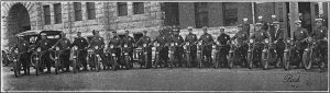 Officers of the Milwaukee Police Department's motorcycle squad pose for a photograph around 1921.