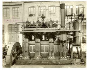 Pictured here is a large, four-cylinder Nordberg-Carels diesel engine from the early part of the twentieth century.
