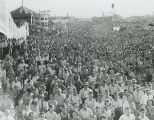 This elevated view illustrates the crowds of people gathered at Milwaukee's Midsummer Festival in 1941.