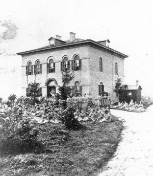 The St. Rose Orphanage, pictured here in 1861, was funded in part by the Milwaukee Brewers' Association in the late twentieth century.