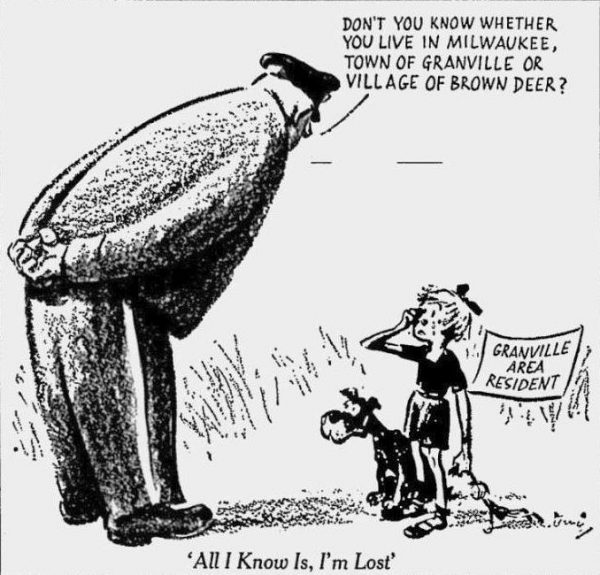 Published in the Milwaukee Journal in 1956, this political cartoon by Ross Lewis illustrates how Granville's contested status left residents unsure of which municipality they lived in.