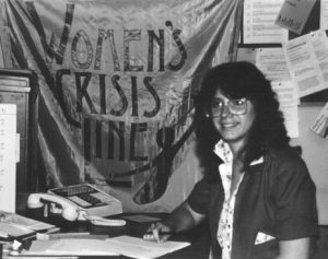 The Women's Crisis Line was a project founded by the Women's Coalition of Milwaukee. Chris Doerfler, director of the Women's Crisis Line, is pictured here in 1981.