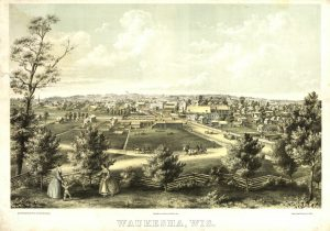 This 1857 map provides a bird's-eye view of the city of Waukesha.
