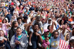 A large crowd gathered together for Milwaukee's Laborfest cheers during an address given by President Barack Obama in 2010.