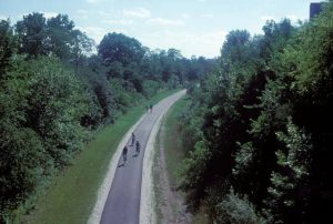 Runners and bicyclists travel along the Oak Leaf Trail, much of which follows abandoned railroad corridors.