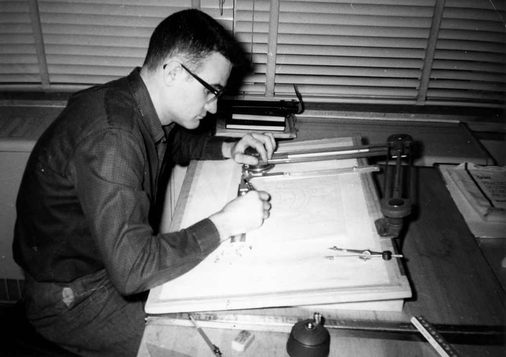 A student at Waukesha County Technical College works at a small drafting table in this photograph from 1950.