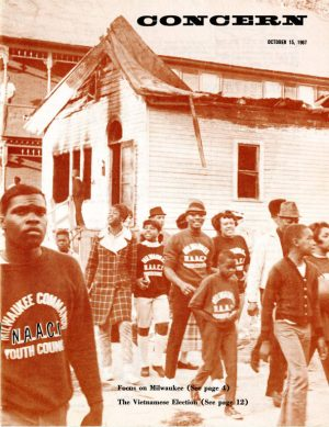 Civil rights demonstrations and marches for fair housing put Milwaukee on the national stage during the 1960s. This 1967 cover image is from a publication by the General Board of Christian Social Concerns of the Methodist Church.