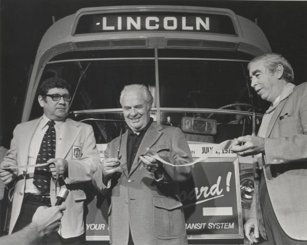 John Doyne (middle) and William O'Donnell (right) attend a ribbon cutting ceremony in 1975. Doyne and O'Donnell served as successive county executives from 1960 to 1988 and were known as Irish politicians.
