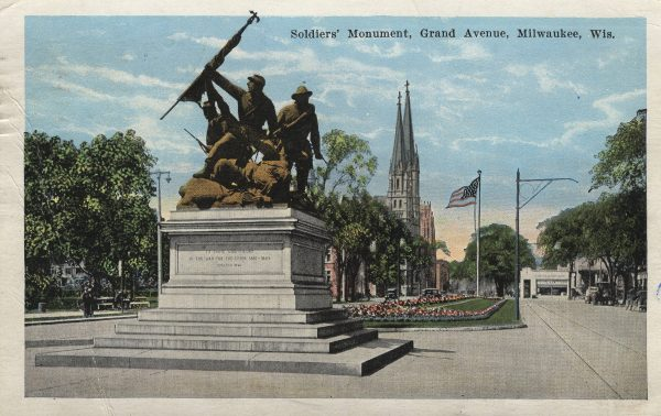 """This Civil War monument, entitled """"The Victorious Charge,"""" is located on the west end of Milwaukee's Court of Honor on Wisconsin Avenue. It was dedicated in 1898."""
