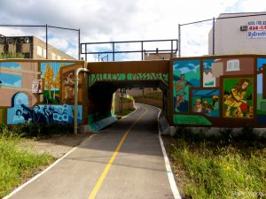 The Hank Aaron State Trail is named for Milwaukee baseball great Hank Aaron. The entrance to the trail at Pierce Street features colorful murals, some of which are Milwaukee themed.