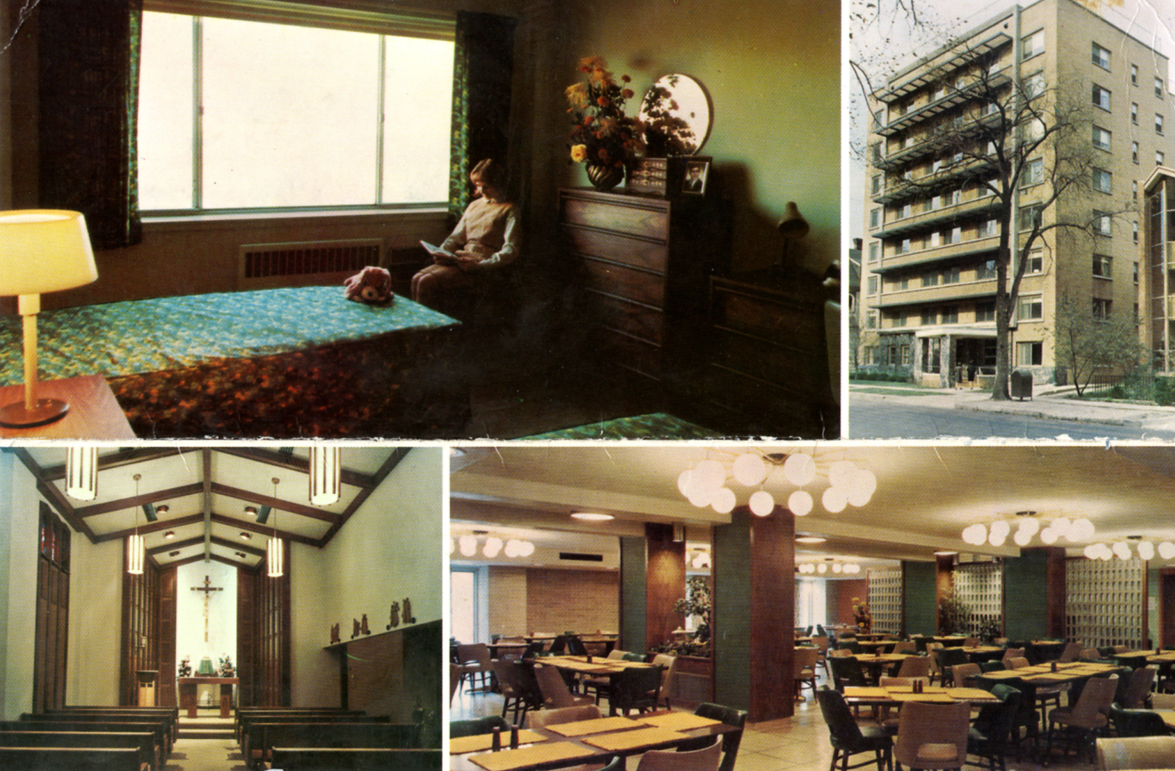 This postcard of St. Catherine's Residence for Young Women from between 1966 and 1980 illustrates both the building's exterior and its interior facilities.