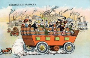 Milwaukee's reputation as city of breweries and German culture is illustrated by this postcard from 1931.