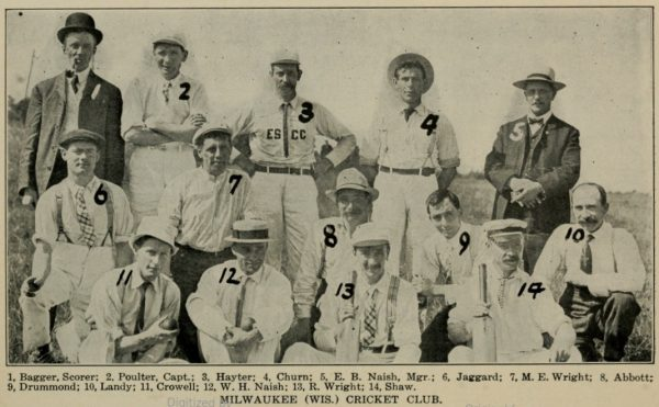 The Milwaukee Cricket Club, pictured here in 1908, was part of the Tri-City League, along with teams from Kenosha and Racine. That year, the Milwaukee Club had a record of one win and seven losses.