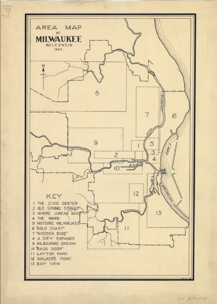 Created by the Federal Writers Project in 1940, this map divides Milwaukee into thirteen distinct areas.