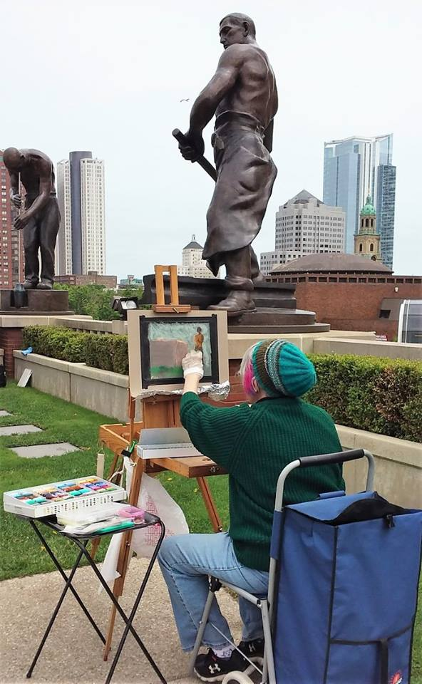 Along with classes and exhibitions, the League of Milwaukee Artists periodically hosts outdoor painting competitions, like this one atop the MSOE Grohmann Museum.