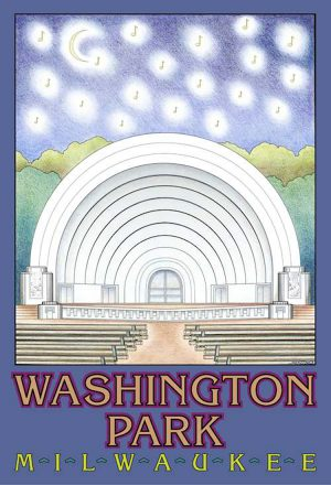 Designed by artist Janice Kotowicz, this Washington Park poster is an example of the Milwaukee neighborhoods poster series released by the Milwaukee Department of City Development.