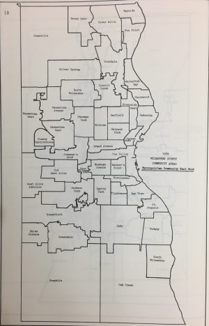 Using 1970 census data, this map of Milwaukee neighborhoods reflects the changes to Milwaukee's boundaries as a result of the Granville annexation.
