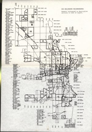 "This ""Neighborhood Identity"" map identifies 75 different neighborhood areas throughout the Milwaukee area."
