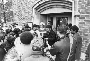 Members of the Black Student Union at Marquette University gather for a protest in 1969.