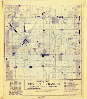 This 1959 zoning map of Franklin illustrates how land was utilized throughout the city. The majority of land is allocated as residential and agricultural districts.