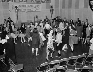 "A group of young men and women dance in the Rumpus Room in 1945. The ""Rumpus Room"" was a popular Milwaukee radio show during the 1940s."