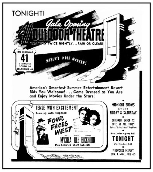 This advertisement from 1948 announces the grand opening of the 41 Twin Outdoor Theater in Franklin.