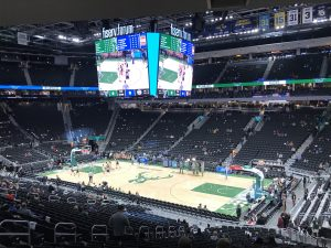 Fans begin to take their seats inside the Fiserv Forum before a Milwaukee Bucks game in December 2018.