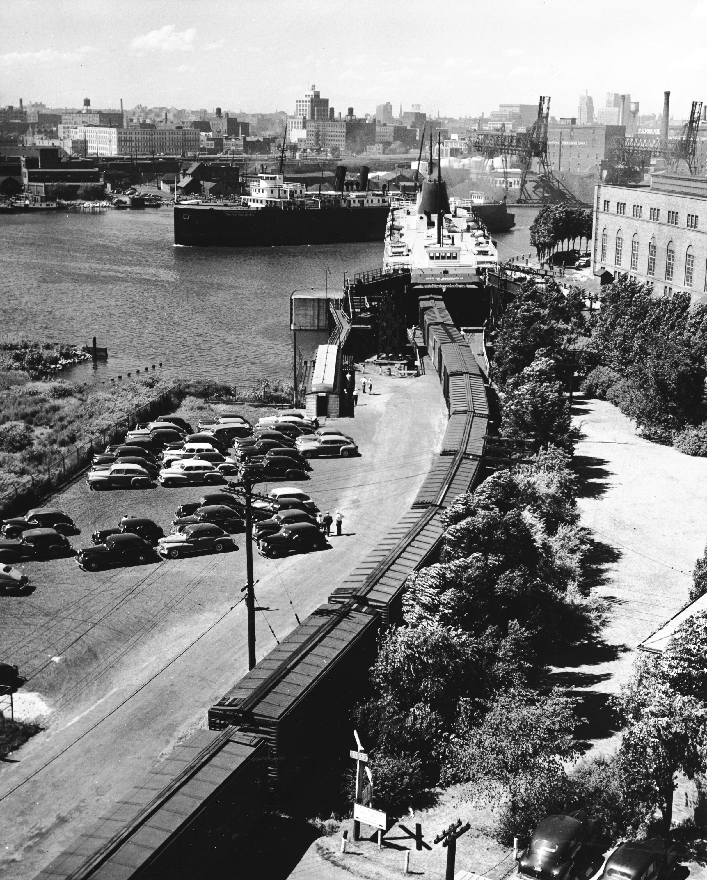 The City of Saginaw car ferry is docked and being loaded with railway cars in this photograph from 1946.