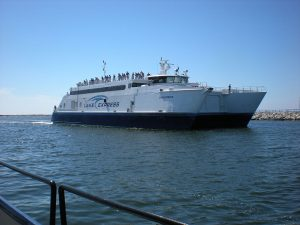 For seven months of the year, the Lake Express ferry carries passengers and cars between Milwaukee and Muskegon, Michigan.