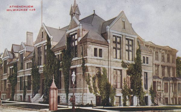 This postcard illustrates the Athenaeum Building, located at 813 E. Kilbourn Avenue. It was built in 1887 and paid for by the Woman's Club of Wisconsin, which still has its headquarters in the building today.