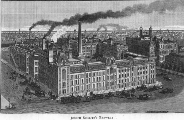 This illustration from 1886 depicts the Schlitz Brewery towering in the foreground while the city of Milwaukee stands in the background.