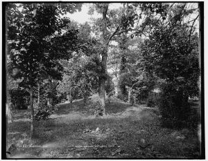 The raised portion of land in the middle of this late nineteenth century photograph is a Native American burial mound, located today in Waukesha's Cutler Park.