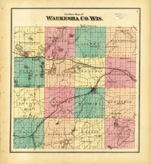 This map illustrates the communities in Waukesha County as their boundaries appeared in 1873.