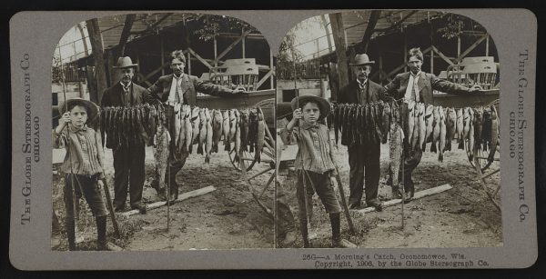 In this photograph from between 1900 and 1910, two men and a young boy stand next to the line of fish they caught one morning in Oconomowoc.