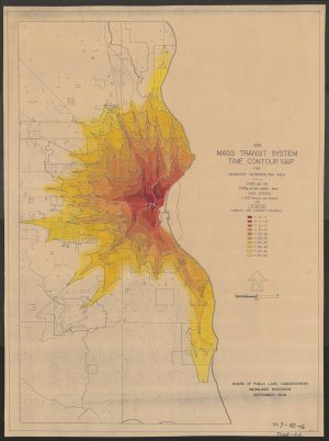 This map from 1948 illustrates the time mass transit system trips would take spreading outward from the center of the City of Milwaukee. The dots on the map represent population density.